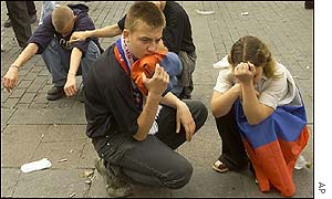 Russian fans are left dejected by defeat