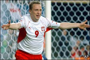 Pawel Kryszalowicz celebrates scoring Poland's second goal
