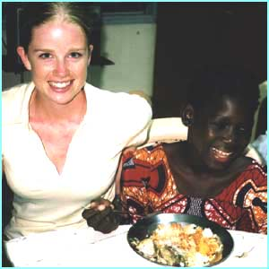 Becky with Kia, 12, from Benin. Kia was sold into slavery in Gabon before she was rescued