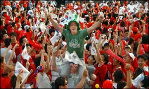 Republic of Ireland fan William Sisk among a sea of South Koreans