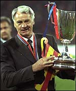 Bobby Robson parades the Cup Winners' Cup with Barcelona
