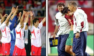 Korean players (l) and Portuguese players(r) ( Photograph by Associated Press)