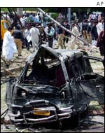 Car damaged in the bomb blast