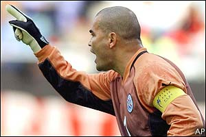 Paraguay goalkeeper Jose Luis Chilavert shouts to team-mates during the first half