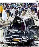 Wreckage of a car caught in the blast