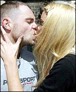 Brian Harvey gets a kiss from girlfriend Emma B