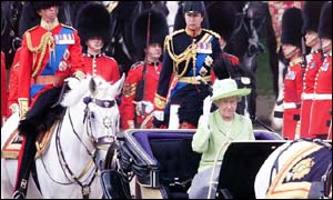 The Queen, flanked by Duke of Edinburgh