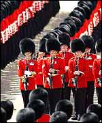 Scots Guards Present Arms for the Royal Party
