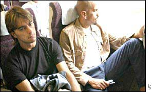 Team-mates Claudio Lopez (left) and Juan Sebastian Veron (right) on their way home