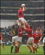Wales lock Steve Williams towers in the lineout