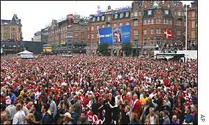 Copenhagen's town hall square during the game