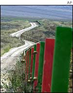 Line of security fence