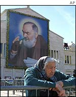 Picture of Padre Pio in his hometown San Giovanni Rotondo