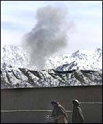 US bomb smoke over Afghanistan
