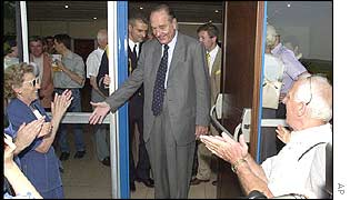 Jacques Chirac leaves the polling station