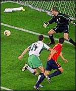 Fernando Morientes puts Spain ahead against the Republic of Ireland