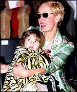 Paula Yates with Heavenly Hirani Tiger Lily, her daughter with INXS star Michael Hutchence