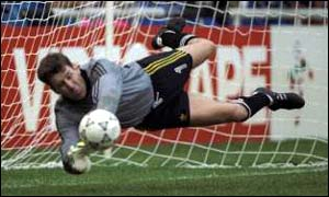 Pat Bonner saves a Romanian penalty in 1990