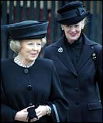 Queen Beatrix of the Netherlands and Queen Margrethe of Denmark at the Queen Mother's funeral