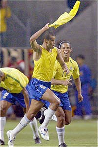 Brazilian midfielder Rivaldo celebrates after scoring Brazil's opener