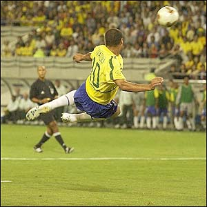 Rivaldo of Brazil tries an overhead kick in the first half