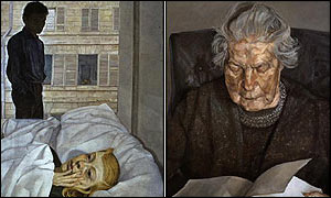 Hotel Bedroom (1954) and Painter's Mother Reading (1975)