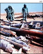 Destroyed Iraqi rockets filled with the chemical Sarin