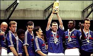 France celebrate winning the World Cup in 1998