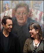 Actor Richard E Grant with winner Catherine Goodson