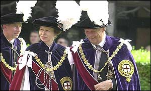 Prince Charles, Princess Anne and King Harald of Norway