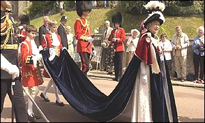 The Queen led the procession to St. Georges Chapel from Windsor Castle