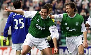 Allan Smart celebrates his only goal for Hibs