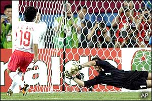 Ahn Jung-Hwan's penalty is saved by Italian goalkeeper Gianluigi Buffon in the fourth minute