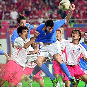 Christian Vieri scores his fourth goal of the tournament as he puts the Italians ahead