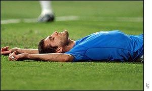 Christian Vieri displays the pain of Italy's defeat