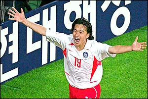 Winning goalscorer Ahn Jung-Hwan celebrates as Korea knock out another of the title favourites Italy