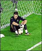 Italy keeper Gianluigi Buffon is left distraught