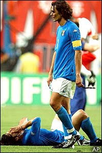 Paolo Maldini and Gennaro Gattuso show their disbelief and despair at losing 2-0 to Korea