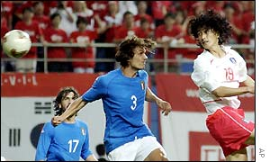 Ahn Jung-Hwan jumps above Paolo Maldini to hit the golden goal for South Korea