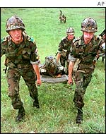 Stretcher-carrying exercise