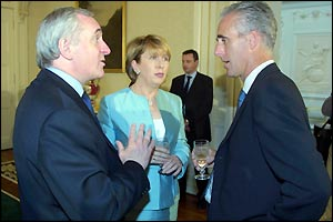 Mick McCarthy is presented to the Irish Prime Minister and President