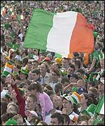 Irish football fans packed into Phoenix Park