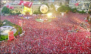 Millions of people packed Seoul's main squares