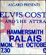 Ticket for Elvis Costello concert at the Hammersmith Palais
