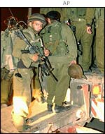 Israeli soldiers at the Salem checkpoint outside Jenin