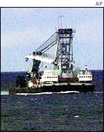 Russian rescue vessel at the scene two days after the disaster