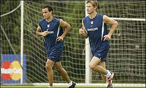 The USA's Landon Donovan (left) and Brian McBride (right)