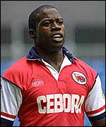 Martin Offiah in Salford strip