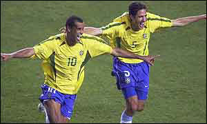 Rivaldo leads the celebrations against Costa Rica