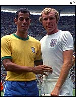 Brazil captain Carlos Alberto and England captain Bobby Moore in 1970